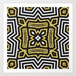Aztec Gold Black Bold Pattern Art Print