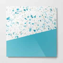 Terrazzo Texture Pacific Light Blue #5 Metal Print