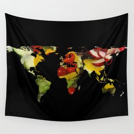 World Map Silhouette - Vegetable Salad Wall Tapestry