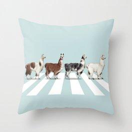 Llama The Abbey Road #1 Throw Pillow