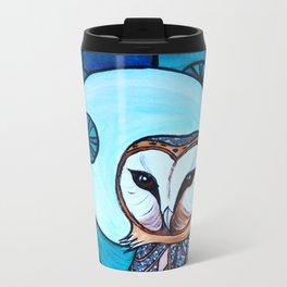 Barn Owl Art Nouveau Panel in blue Metal Travel Mug