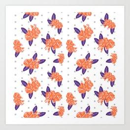 Floral clemson sports college football university varsity team alumni fan gifts purple and orange Art Print