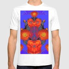 Ornate Modern Orange Poppy Flowers Ultramarine art White MEDIUM Mens Fitted Tee
