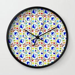 symetric tartan and gingham 21 -vichy, gingham,strip,square,geometric, sober,tartan Wall Clock