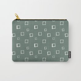 Hand Drawn Abstract Square Pattern - Viridian Green Carry-All Pouch