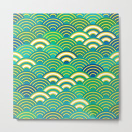 abstract scales simple Spring Nature background with japanese circle Metal Print