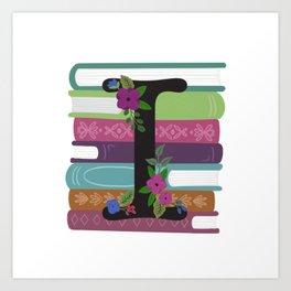 Bookish Monogram Collection I Art Print