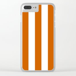 Tenné (tawny) orange - solid color - white vertical lines pattern Clear iPhone Case