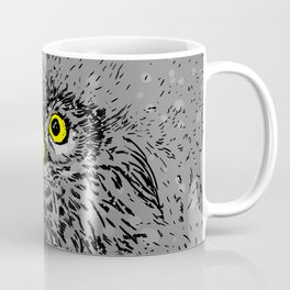 Fluffy baby owl staring eyes Coffee Mug