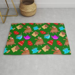 Cute winter pattern. Happy llamas, sweet chocolate bars, red woolen mittens, hot cocoa, marshmallows Rug