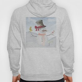 Winter Wonderland- Snowman and birds - Watercolor illustration Hoody