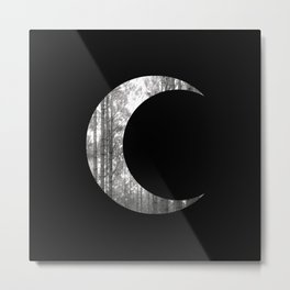 Black Forest Crescent Moon Metal Print