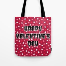Happy Valentine's Day with Colored Hearts Tote Bag