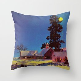 Moonlit Night, Winter by Maxfield Parrish Throw Pillow