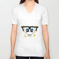 spongebob V-neck T-shirts featuring Spongebob Nerd Face by Cute Cute Cute