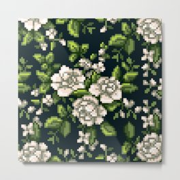 Pixel Floral - White on Black Metal Print