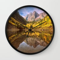 mountains Wall Clocks featuring mountains. Mirror Lake by 2sweet4words Designs
