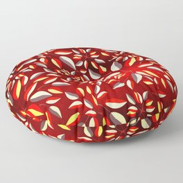 Duo-Toned Leaf pattern 2 (Red) Floor Pillow