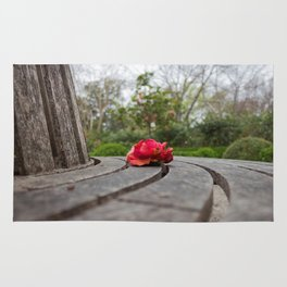 Lone Red Peony atop a Bench Rug