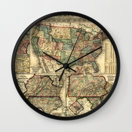 Mitchell's Military Map of the United States (1861) Wall Clock