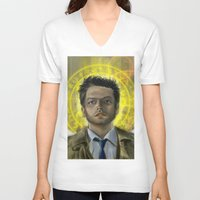 castiel V-neck T-shirts featuring Castiel by Paulo Fodra