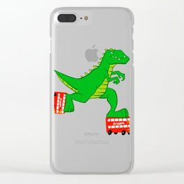 dinosaur riding roller skates. Clear iPhone Case