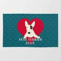 bull terrier Area & Throw Rugs featuring Bull Terrier Love by ShaMiLa