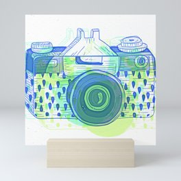 Sketchy Vintage Analog Camera Pattern Mini Art Print