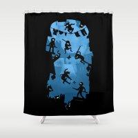 ninja Shower Curtains featuring Ninja Kick Ass Clash by Anna-Maria Jung