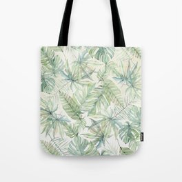 Green Tropical Leaves Tote Bag