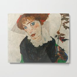 Portrait of Wally by Egon Schiele Metal Print