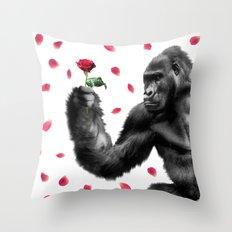 Gorilla In Love Throw Pillow