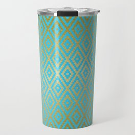 Moroccan Nights - Gold Teal Argyle Pattern - Mix & Match with Simplicity of Life Travel Mug
