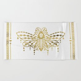 Death's Head Hawkmoth – Gold Palette Beach Towel