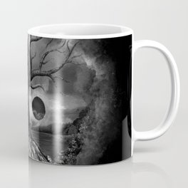 Yin Yang Tree Landscape Black and White Coffee Mug