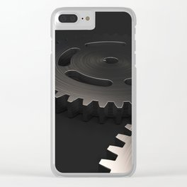 Set of metal gears and cogs on black Clear iPhone Case