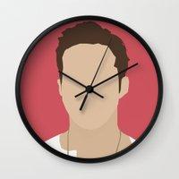 ryan gosling Wall Clocks featuring Ryan Gosling Portrait by RoarsAdams