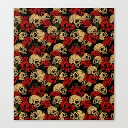 Skull and Roses Pattern Canvas Print