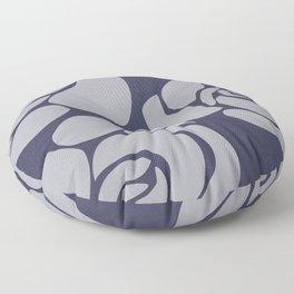 White Roses on Blue II Floor Pillow