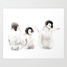 Playful Penguin Chicks - Watercolor Painting Art Print