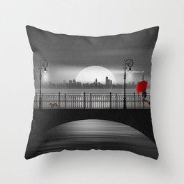 The bridge in the summer rain Throw Pillow