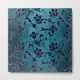 Spiraling Vines - Deep Blue Metal Print
