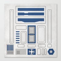 r2d2 Canvas Prints featuring R2D2 by Alison Lee