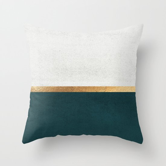 Deep Green, Gold and White Color Block by jennadavis