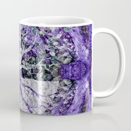 Silver Tree of Life Yggdrasil on Amethyst Geode Coffee Mug