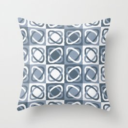 Modern Shapes Pattern (Blue and Natural White) Throw Pillow