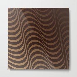 abstract modern geometric pattern beige caramel chocolate brown waves Metal Print