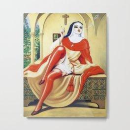 Smoking Nun Metal Print