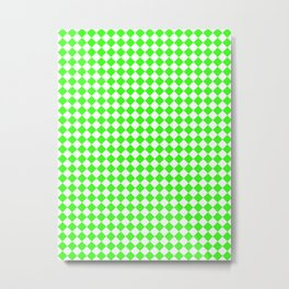 Small Diamonds - White and Neon Green Metal Print