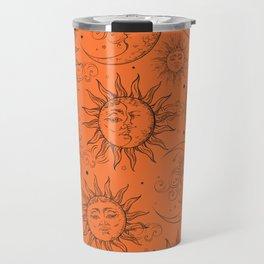 Orange Magic Celestial Sun Moon Stars Travel Mug